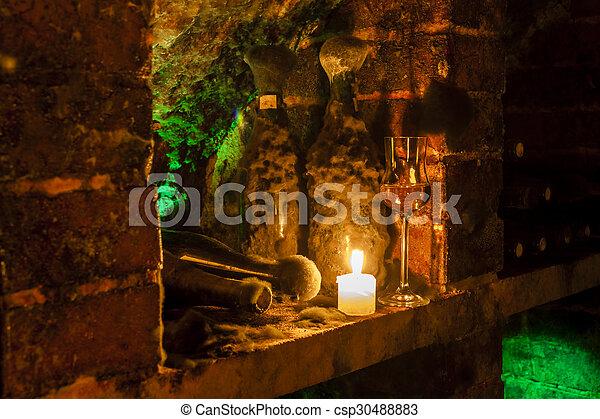 wine archive of wine cellar in Velka Trna, Tokaj wine region, Slovakia - csp30488883