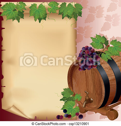 Wine background with grape, barrel and paper - csp13210901