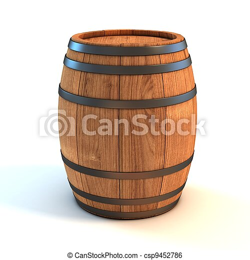 wine barrel over white background  - csp9452786