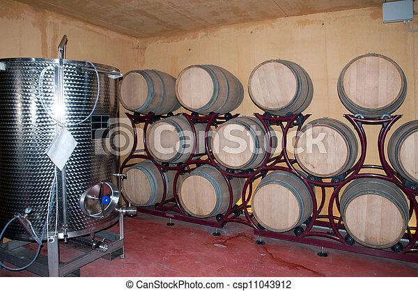 Wine Barrel Rack Italy Franciacorta Csp11043912