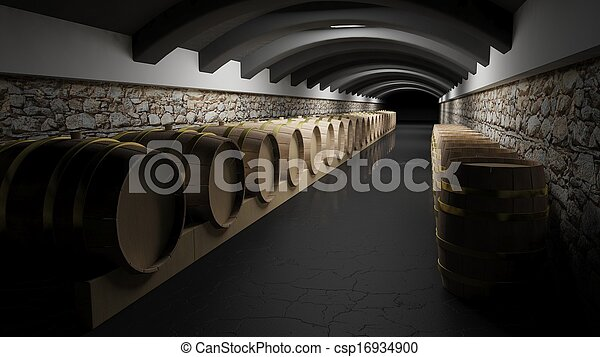 Wine barrels in a wine cellar - csp16934900