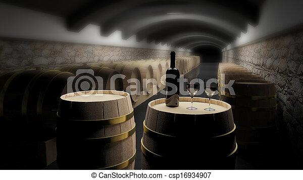 Wine barrels in a wine cellar - csp16934907