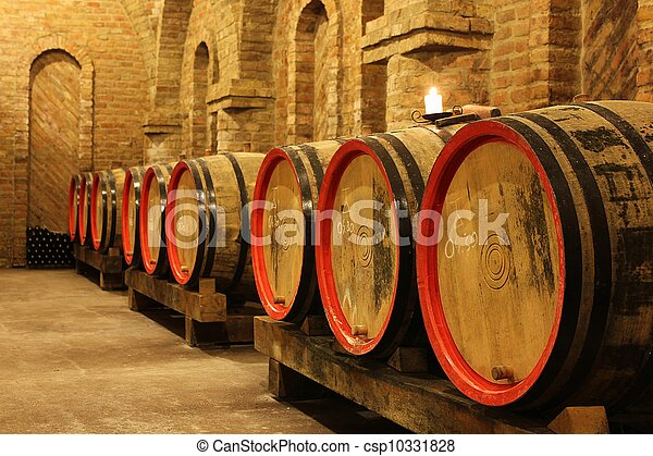wine barrels in cellar - csp10331828