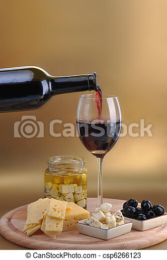 wine bottle and cheese - csp6266123