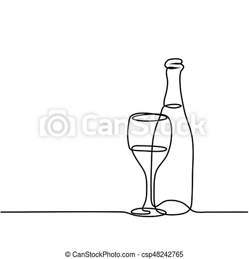 Continuous line drawing wine bottle and glass contour black outline vector