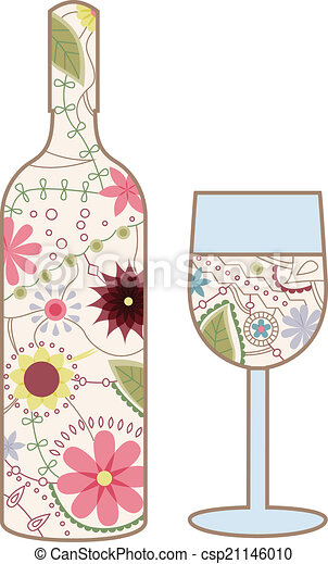 Wine Bottle And Glass Vintage