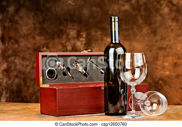 wine bottle and two wine glasses - csp12650760