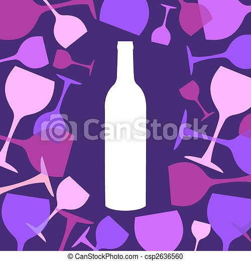 Wine bottle and wineglasses background - csp2636560