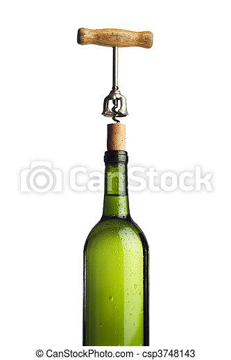 Wine bottle being uncorked - csp3748143