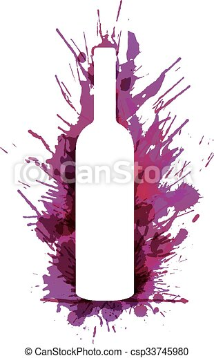 Wine bottle in front of colorful grunge splashes - csp33745980