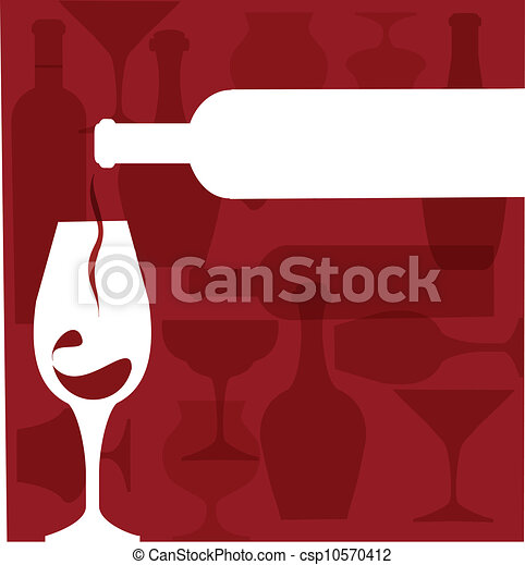 Wine bottle serving a glass silhouettes on purple - csp10570412