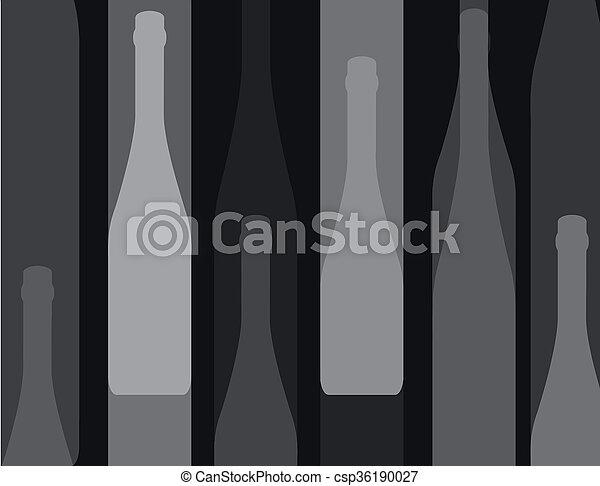 wine bottle silhouette black - csp36190027