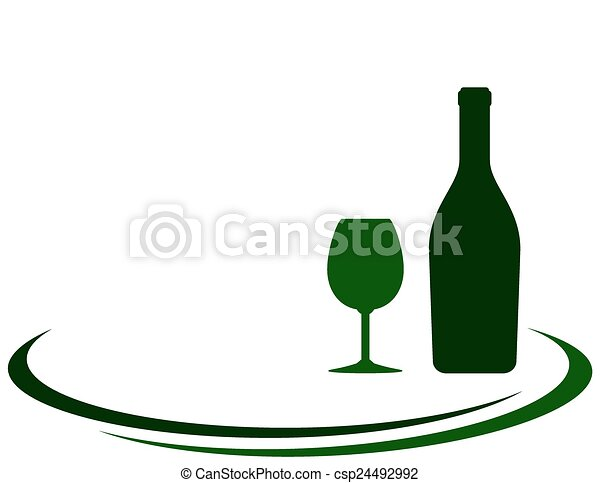 wine bottle with glass - csp24492992