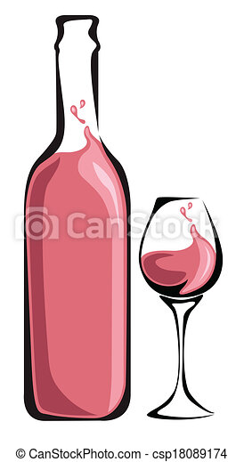 Wine bottle with glass - csp18089174