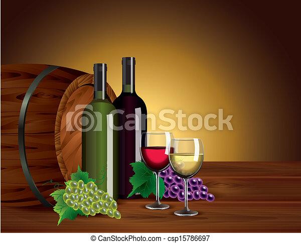 Wine bottles, glasses, grapes and barrel - csp15786697