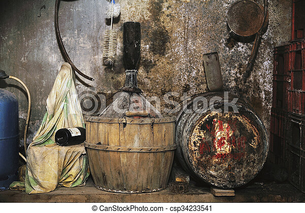 wine cellar in an old stone house - csp34233541