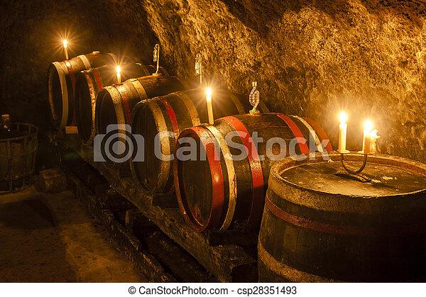 wine cellar in Velka Trna, Tokaj wine region, Slovakia - csp28351493