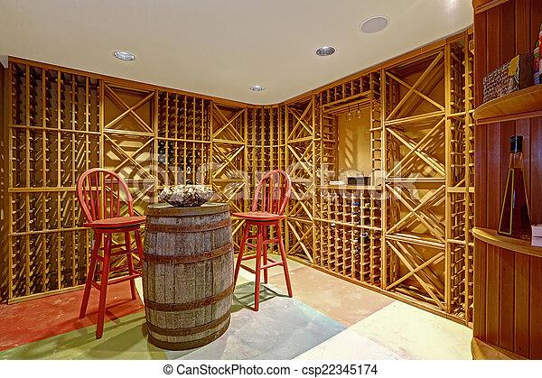 Wine cellar interior in basement room. - csp22345174