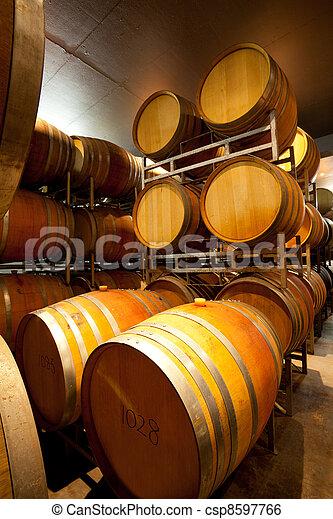 wine cellar with barrels - csp8597766