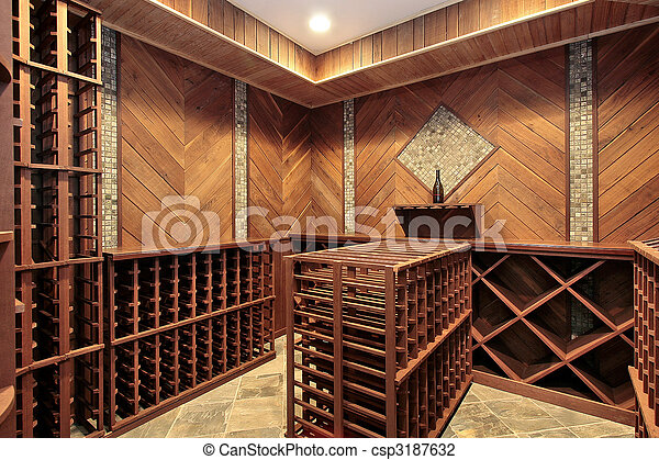 Wine cellar with multiple racks - csp3187632