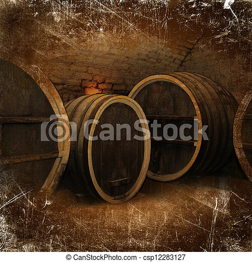 Wine cellar with old oak barrels in vintage style - csp12283127