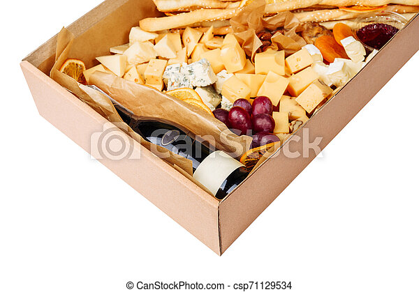 Wine Cheese Carton Box Isolated Delivery Closeup - csp71129534