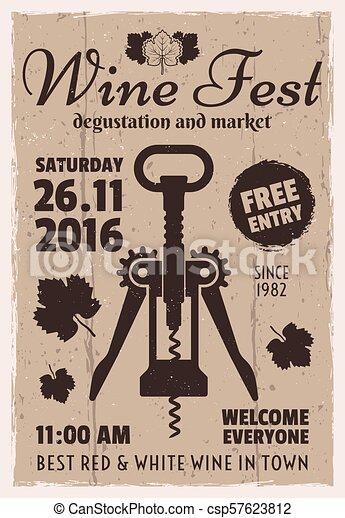 Wine degustation festival retro invitation poster - csp57623812
