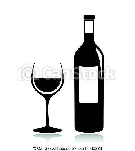 Illustration Of Wine Glass And Bottle Icon