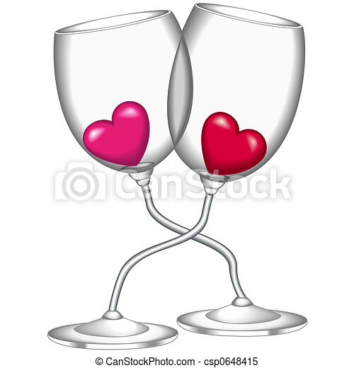Wine glasses heart glasses of wine filled with hearts for How to draw on wine glasses