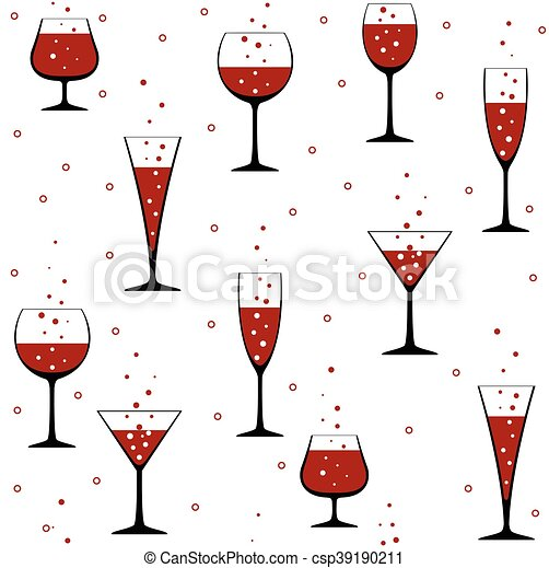 Seamless party pattern with wine glasses on white background.