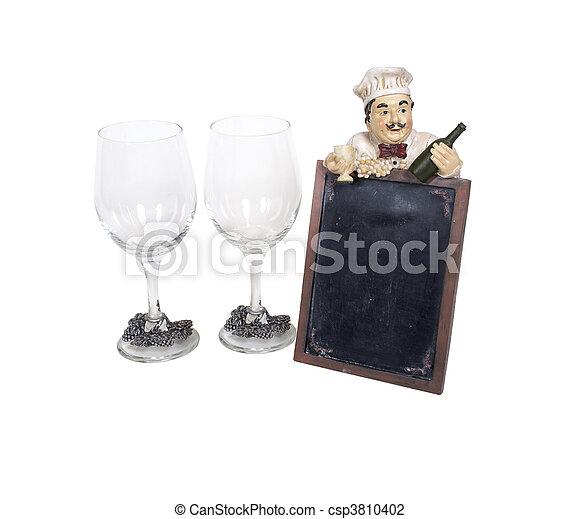 Wine Glasses with Menu Sign - csp3810402
