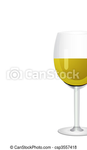 Wine in glass. Isolated on white background  - csp3557418
