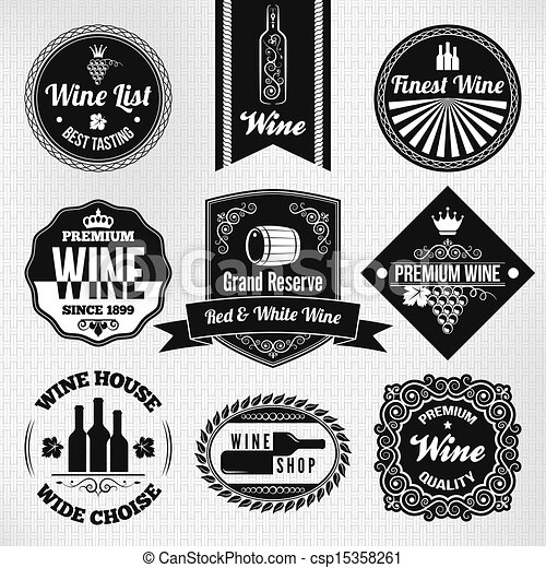 wine labels set  - csp15358261