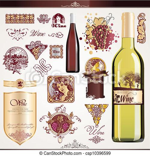 Wine labels set. Set of wine labels, bottles and elements eps ...