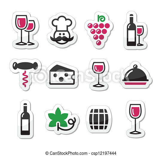 Wine labels set - glass, bottle - csp12197444