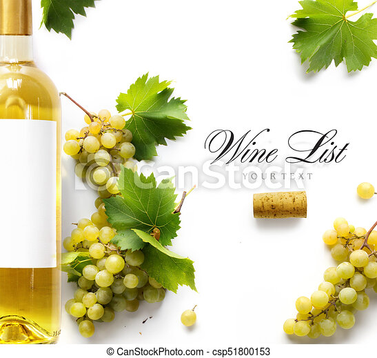 wine list background; sweet white grapes and wine bottle.