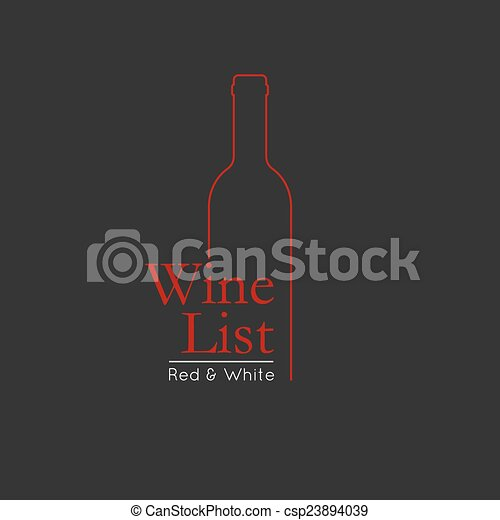 Wine List Menu Card Design Template Badge And Label Bottle Glass Background