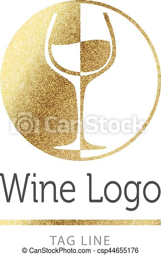 Wine logo in gold - csp44655176