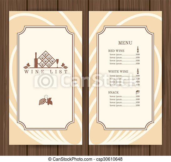 Wine Menu Template Wine List Restaurant Menu Template On  Eps