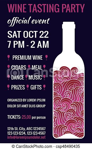 Wine Tasting Flyer Wine Tasting Party Flyer Stylized Bottle Of Red - Wine tasting event flyer template free