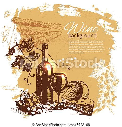 Wine vintage background. Hand drawn illustration. Splash blob retro design  - csp15722168
