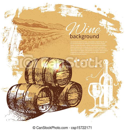 Wine vintage background. Hand drawn illustration. Splash blob retro design  - csp15722171