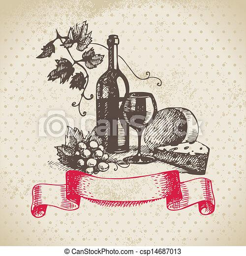 Wine vintage background. Hand drawn illustration - csp14687013