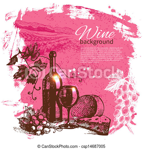 Wine vintage background. Hand drawn illustration. Splash blob retro design  - csp14687005