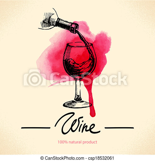Wine vintage background. Watercolor hand drawn sketch illustration. Menu design - csp18532061