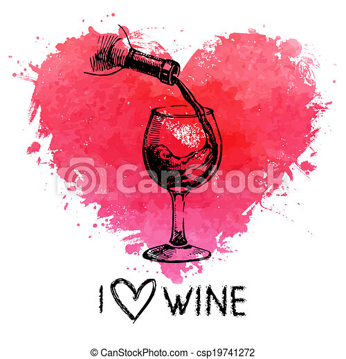 Wine vintage background with banner. Hand drawn sketch illustration with splash watercolor heart - csp19741272