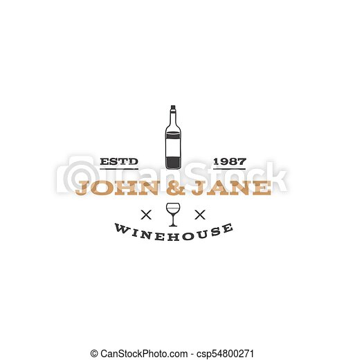 wine winery logo template winehouse logotype vine bottle icon and