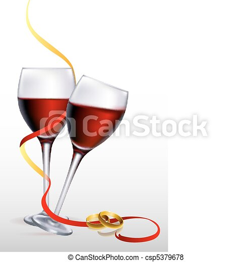 wine with engagement rings - csp5379678