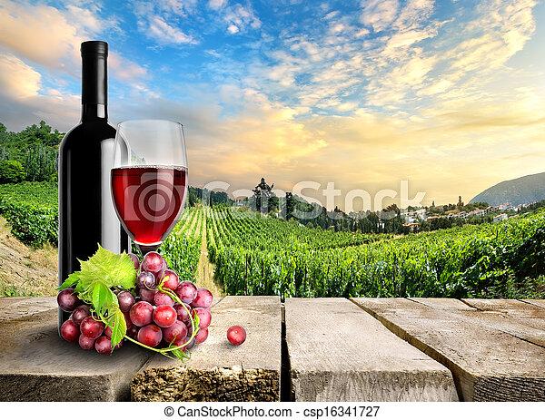 Wine with grape and vineyard - csp16341727
