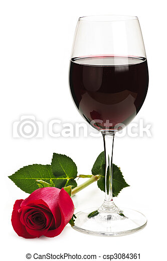 Wine with red rose - csp3084361